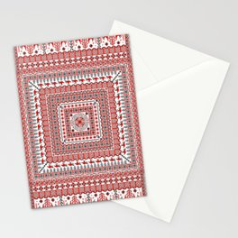 Mezen painting. Openwork square with birds. Stationery Cards