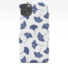 Blue Ginkgo Biloba Pattern iPhone Case