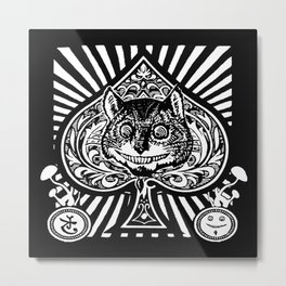 Cheshire Cat Black and White Metal Print