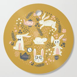 Bunnies + Teapots in Gold Cutting Board