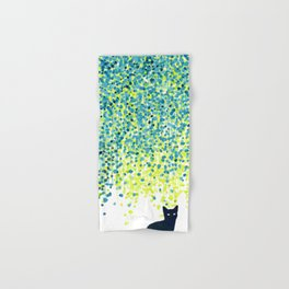 Cat in the garden under willow tree Hand & Bath Towel