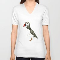 puffin V-neck T-shirts featuring Puffin by Night owl