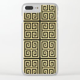 Black and gold high fashion Greek key pattern Clear iPhone Case