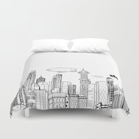 gotham Duvet Covers featuring Gotham City Skyline by CHAR ODEN