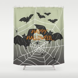 Flying Bat Happy Halloween Shower Curtain