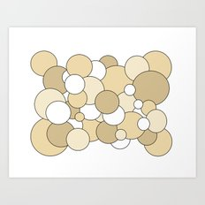 Bubbles - brown and white Art Print