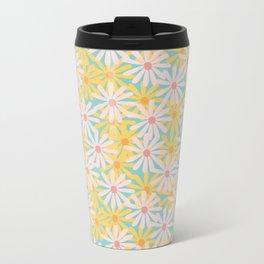 Retro Sunny Floral Pattern Metal Travel Mug