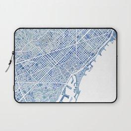 Barcelona Blueprint Watercolor City Map Laptop Sleeve