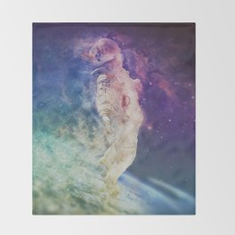 Astronaut dissolving through space Throw Blanket