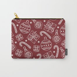 Christmas Doodle Pattern Red Carry-All Pouch