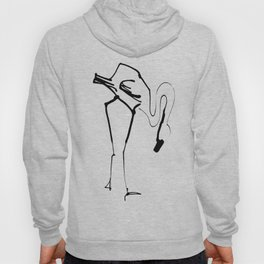 Simple Black Ink Flamingo Illustration, Minimalist Art. Hoody