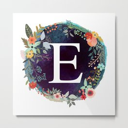 Personalized Monogram Initial Letter E Floral Wreath Artwork Metal Print
