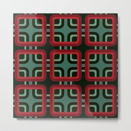 Geometric Pattern #69 (red & turquoise 1970s) Metal Print