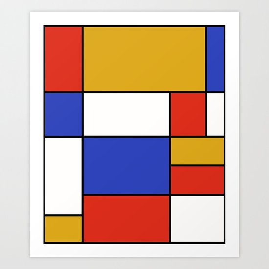Abstract #401 Mondriaan #8 Art Print