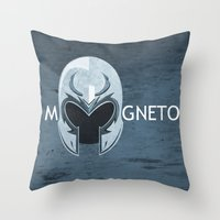 magneto Throw Pillows featuring Magneto by Tony Vazquez