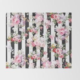Bold pink watercolor roses floral black white stripes Throw Blanket