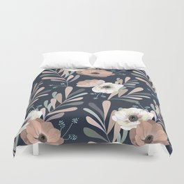Anemones & Olives blue Duvet Cover
