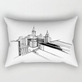 Vibrant City White Background Rectangular Pillow