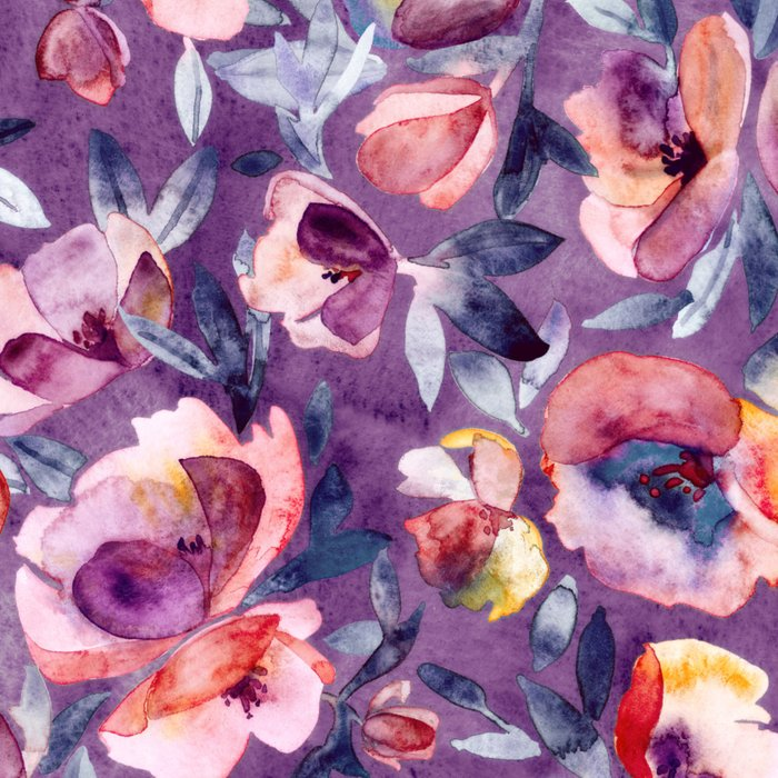 May Afternoon - a watercolor floral in purple and peach Leggings