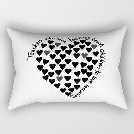 Hearts Heart Teacher Black on White Rectangular Pillow
