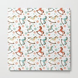 Rocking horses pattern Metal Print