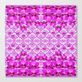 ABSTRACT PATTERNED PURPLE ART DECO  ORCHIDS Canvas Print