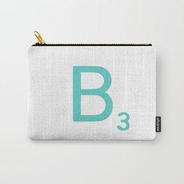 Custom Blue Scrabble Letter B Carry-All Pouch