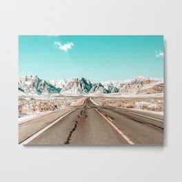 Vintage Desert Road // Winter Storm Red Rock Canyon Las Vegas Nature Scenery View Metal Print