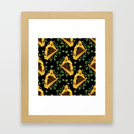 Irish harp and shamrocks on a black Framed Art Print