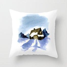 Cabin in mountains Throw Pillow