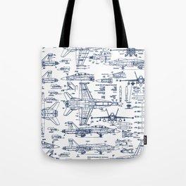 F-18 Blueprints // Blue Ink Tote Bag