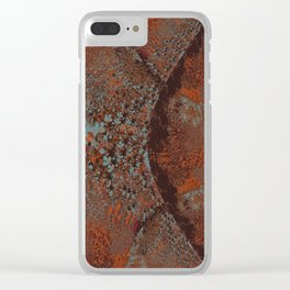 Copper and Soft-Aqua Fractal Abstract Clear iPhone Case