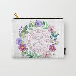 Floral Vegvísir Carry-All Pouch