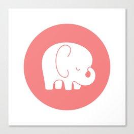 Mod Baby Elephant Coral Canvas Print