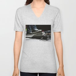Chuck Taylors and a Volume Pedal on a Pedal Board Unisex V-Neck