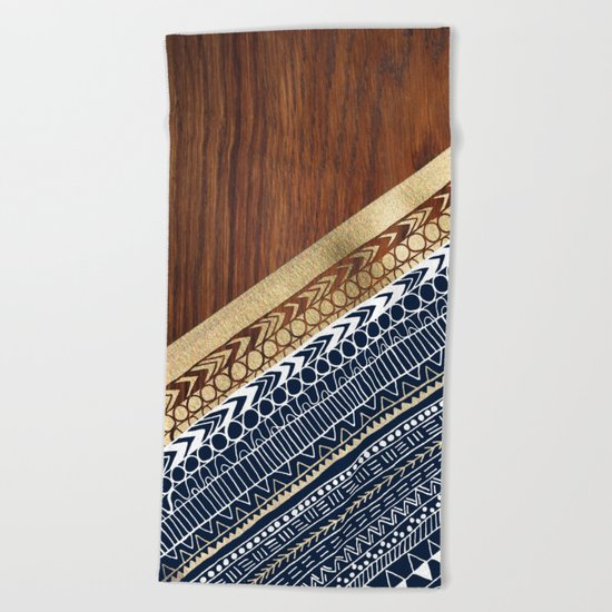 Navy & Gold Tribal on Wood Beach Towel