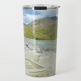 sandy beach on the river Katun, Altai Mountains, Siberia, Russia Travel Mug