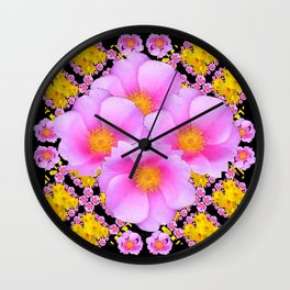Cerise Pink Roses Black-Gold Floral Pattern Art Wall Clock