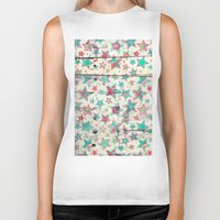 shabby chic Biker Tanks featuring Grunge Stars on Shabby Chic White Painted Wood by micklyn