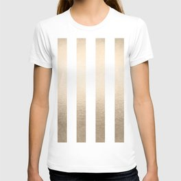 Simply Vertical Stripes in White Gold Sands T-shirt