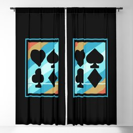 Vintage Poker Card Symbols Blackout Curtain
