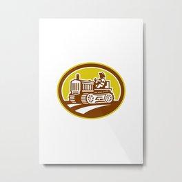 Farmer Drive Vintage Tractor Oval Retro Metal Print