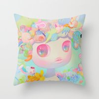 sunshine Throw Pillows featuring Sunshine by So Youn Lee