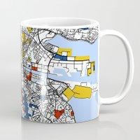 mondrian Mugs featuring Dublin mondrian by Mondrian Maps