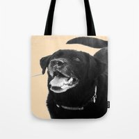 labrador Tote Bags featuring Labrador Happy by Jennifer Warmuth Art And Design