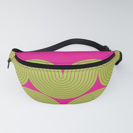 Abstract Wave Lines Pattern in Pink and Neon Green themed Fanny Pack