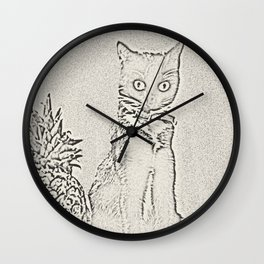 The Cat and the Pineapple Wall Clock