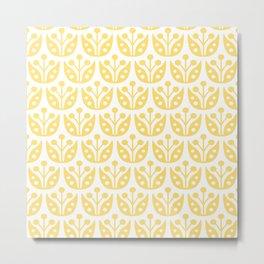 Mid Century Modern Flower Pattern 731 Yellow Metal Print