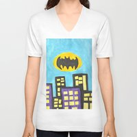 bat V-neck T-shirts featuring Bat by Marialaura