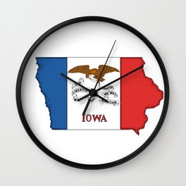 Iowa Map with Iowan Flag Wall Clock